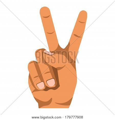 Peace or V shape hand and finger gesture sign. Vector flat isolated icon on white background