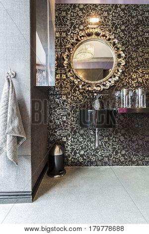 Bathroom With Pattern Wallpaper, Sparkle Floor
