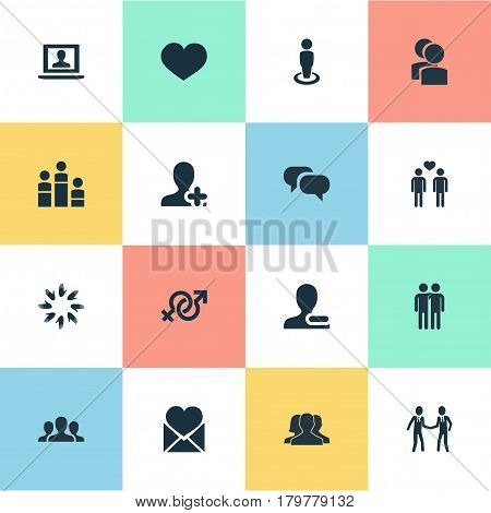 Vector Illustration Set Of Simple Mates Icons. Elements Singleness, Add Friend, Heart And Other Synonyms Conversation, Companion And Community.