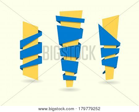 Original ribbon set. Vector illustration. Ribbons banners blue yellow design elements collection. Flat style stripes.