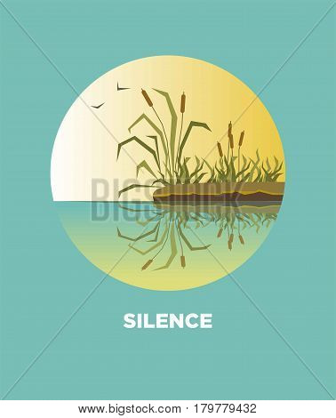 Cane reed on river or lake bank nature landscape. Vector isolated flat icon for travel journey