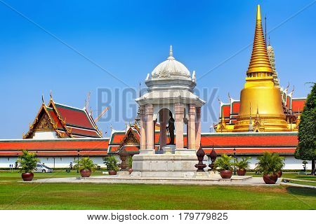 Temple of the Emerald Buddha Thailand Bangkok Wat Phra Kaew. The royal grand palace