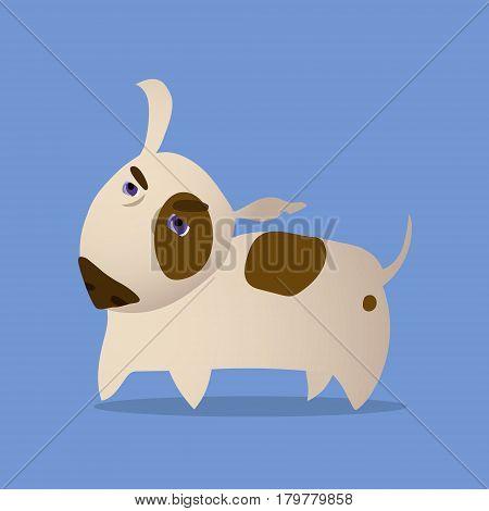 Cartoon Vector Illustration of Funny Purebred Bull Terrier Dog