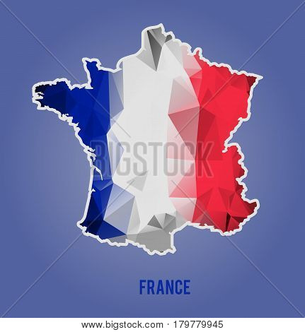 Low polygonal national flag stylized France map. Vector illustration. French country lowpoly style image.