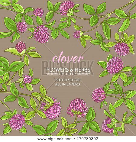 clover flowers vector frame on color background