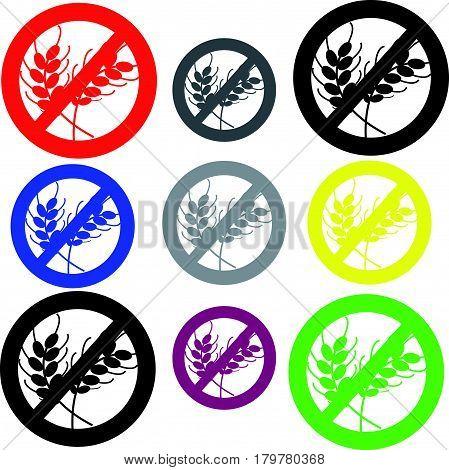 Gluten free symbol on white background. Vector illustration.