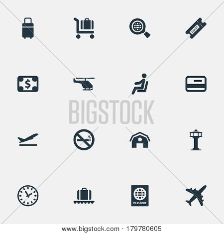 Vector Illustration Set Of Simple Airport Icons. Elements Watch, Air Transport, Credit Card And Other Synonyms Passport, Helicopter And Watch.