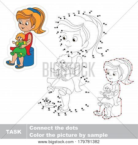 Girl Playing her Toy Doll. Dot to dot educational game for kids, task is to connect dots by numbers.
