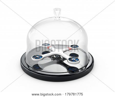 Drone Under The Glass Dome, 3D Illustration