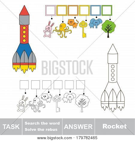 Educational puzzle game for kids. Find the hidden word Rocket