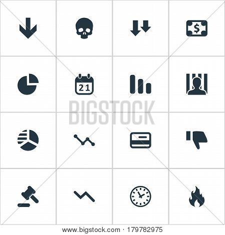Vector Illustration Set Of Simple Trouble Icons. Elements Clock, Penitentiary, Descending And Other Synonyms Cursor, Date And Card.