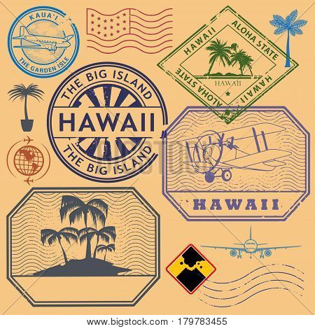 Retro vintage postage stamps set Hawaii United States theme vector illustration