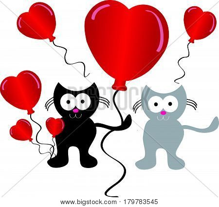 Falling love cats with hearts balloon on white background. Vector illustration.