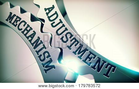 Text Adjustment Mechanism on Shiny Metal Cog Gears - Business Concept. Adjustment Mechanism on the Mechanism of Metal Cogwheels. Business Concept in Technical Design. 3D .