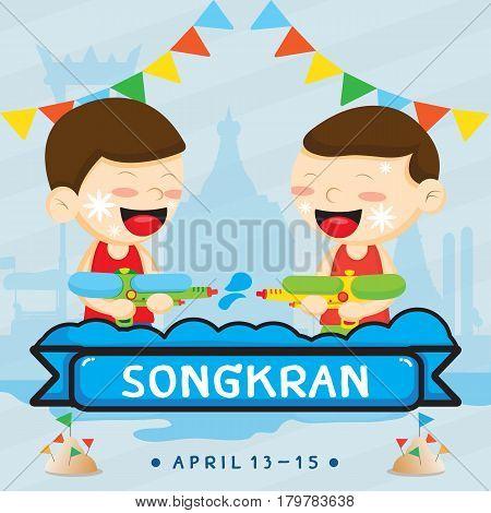 Songkran festival . vector cartoon design for Holiday