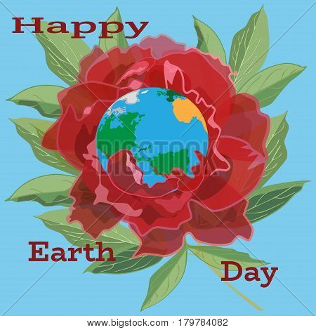 Vector illustration of planet Earth in peony flower. Blossoming planet. Happy Earth Day template in flat style.