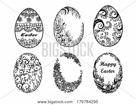 Easter eggs. A set of vector eggs beautifully decorated.
