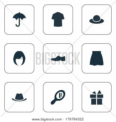 Vector Illustration Set Of Simple Dress Icons. Elements Head Accessory, Man Clothing, Elegance And Other Synonyms Shoes, Umbrella And Hat.