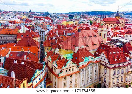 Aerial view over the old town of Prague Czech Republic from Astronomical clock tower