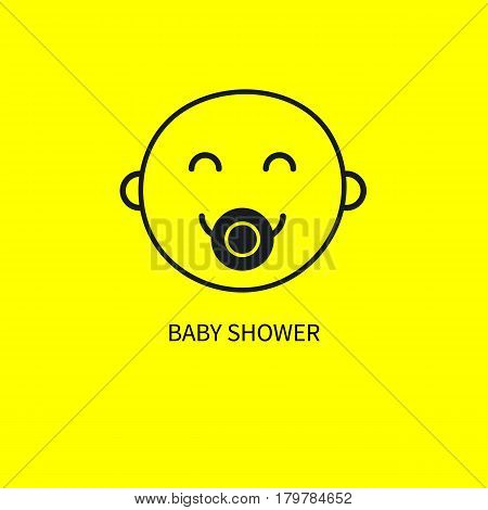 Cute smiley newborn. Line smiling face of kid isolated on yellow. Positive emoticon emoji. Card banner invitation baby shower. Vector illustration.
