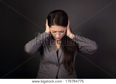 Stressed Unhappy Business Woman In Grey Suit Closed Ears The Hands Because Not Want The Hear Any Sou