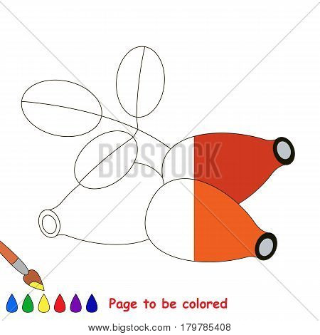 Red Dogrose, the coloring book to educate preschool kids with easy gaming level, the kid educational game to color the colorless half by sample.