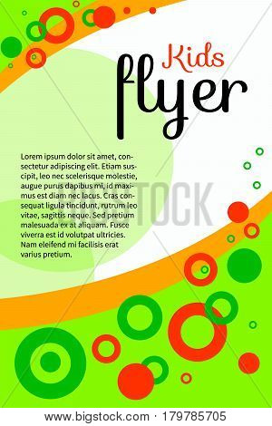 Bright positive summer creative kids flyer banner leaflet. Invitation for baby shower. Colorful abstract geometric background with circles and waves with space for text. Vector illustration.
