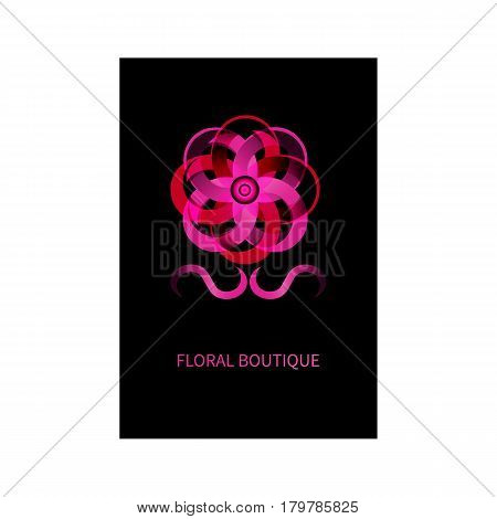 Luxury card for flower boutique. Abstract pink gradient flower. Vector illustration.