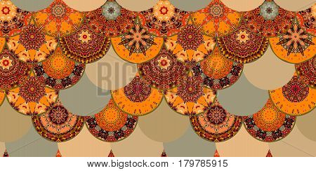 Fish-scales seamless pattern with different mandalas in ethnic style. Print for fabric. Chinese, indian, japanese motives.