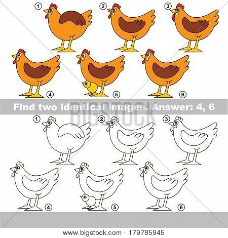 The educational kid matching game for preschool kids with easy gaming level, he task is to find similar objects, to compare items and find two same Brown Hens
