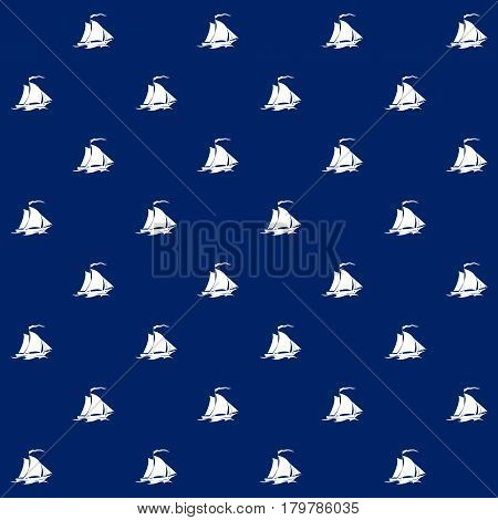 White Sailing Vessel on Blue Background, Seamless Marine Pattern ,Travel and Tourism Concept ,Vector Illustration
