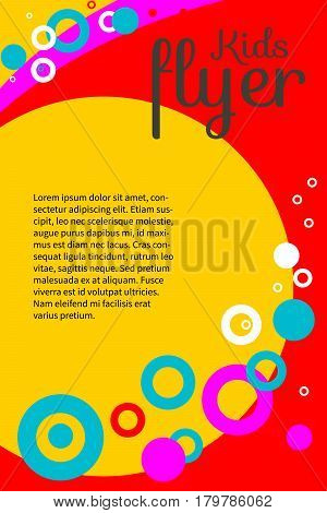 Bright positive summer creative kids flyer, banner, leaflet. Invitation for baby  shower. Colorful abstract geometric background with circles and waves with space for text. Vector illustration.