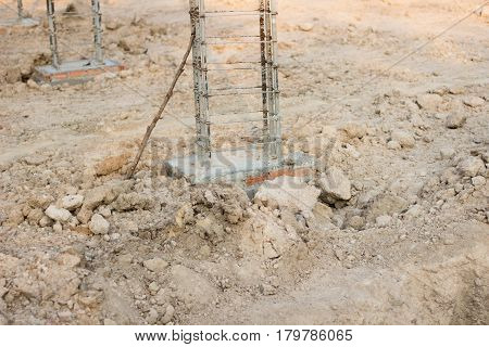 Foundation Or Base Of A New House Or Building With Reinforced Concrete, Metal Rods For Strength,stee