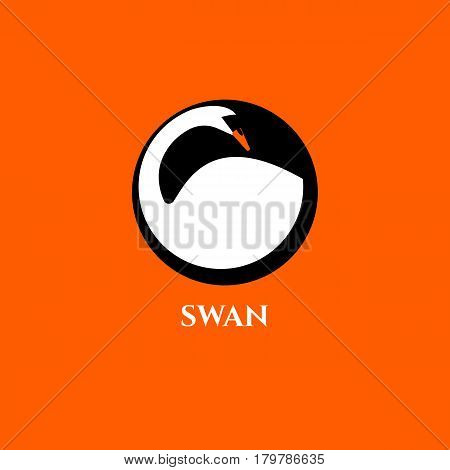 White swan in black circle isolated. Modern logo, icon beauty salon or spa, cosmetic product. Vector illustration.