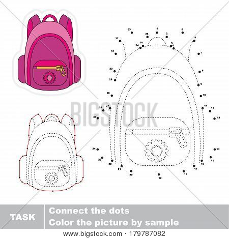 Pink Backpack. Dot to dot educational game for kids, task is to connect dots by numbers.
