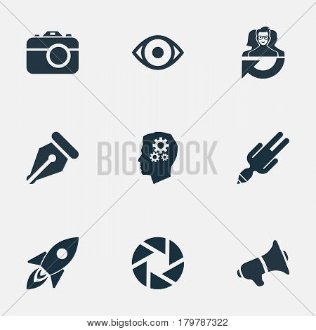 Vector Illustration Set Of Simple Visual Art Icons. Elements Technology, Bullhorn, Rocket And Other Synonyms Depression, Leader And Megaphone.