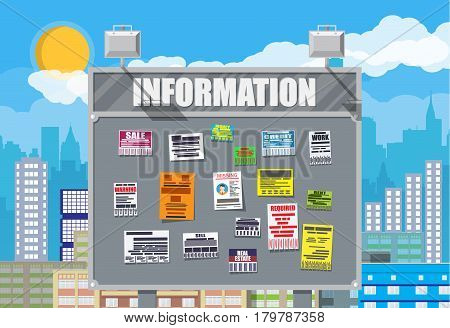 Various tear off papers ad on bulletin board. Advertisement and announcement in big city. Cityscape. Sell, rent, missing human, credit, work, money. Vector illustration in flat style
