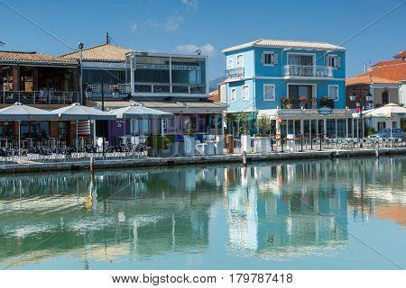 LEFKADA TOWN, GREECE JULY 17, 2014: Promenade at Lefkada town, Ionian Islands, Greece