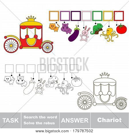 Educational puzzle game for kids. Find the hidden word Chariot
