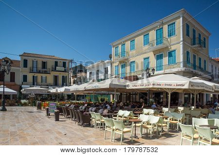 LEFKADA TOWN, GREECE JULY 17, 2014: Central street in Lefkada town, Ionian Islands, Greece