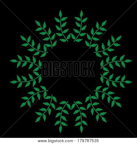 Green leaf frames embroidery stitches imitation on the black background. Vector leaves wreath for card invitation posters texture backgrounds placards banners.