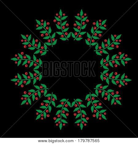Green leaf with red berry frames embroidery stitches imitation on the black background. Vector berry dot wreath for card invitation posters texture backgrounds placards banners.