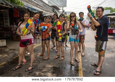 Bangkok, Thailand - April 13, 2014 : The Songkran festival or Thai New Year's festival in JJ market in Bangkok, Thailand.