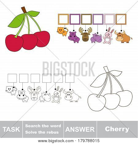 Educational puzzle game for kids. Find the hidden word Cherry