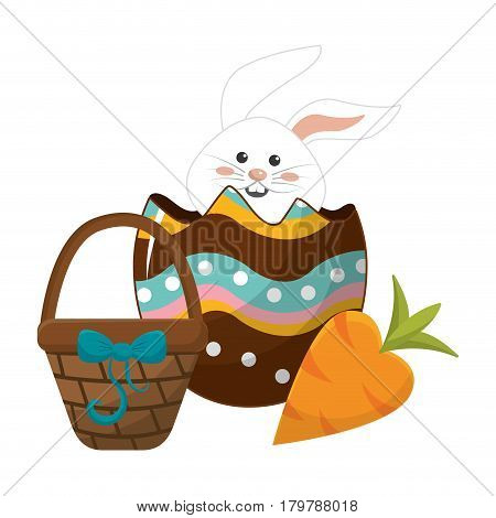 rabbit inside egg with hamper and carrot, vector illustration