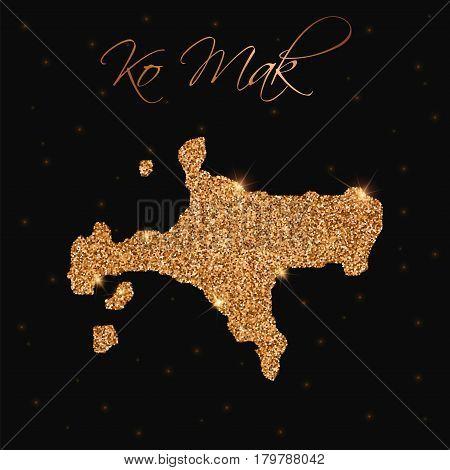 Ko Mak Map Filled With Golden Glitter. Luxurious Design Element, Vector Illustration.