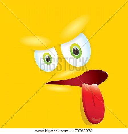 vector orange funny monster face. cartoon monster smiling face for kids background or greeting cards