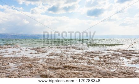 Crystalline Surface Of Dead Sea Shore In Winter