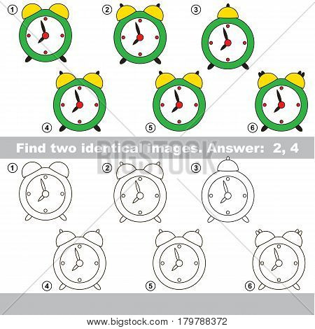 The educational kid matching game for preschool kids with easy gaming level, he task is to find similar objects, to compare items and find two same Clocks.