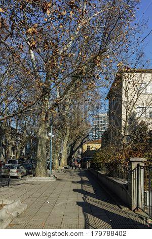 PLOVDIV, BULGARIA - JANUARY 2 2017: Ivan Vazov street in City of Plovdiv, Bulgaria